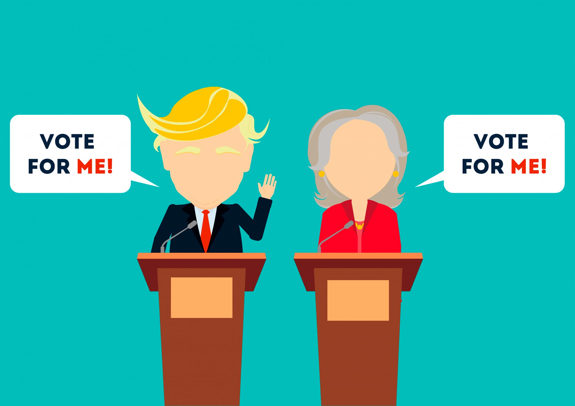 Animated depiction of Donald Trump and Hilary Clinton asking for Irish votes