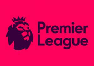 Premier League logo on a red background