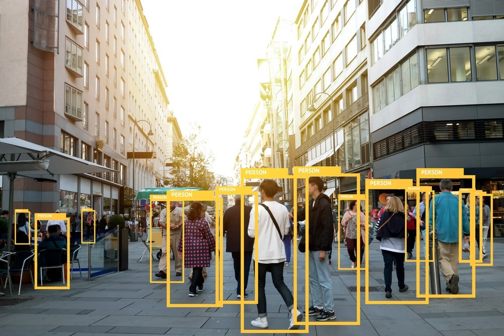 A crowded street with people marked, indicating the importance of analytics and data