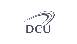 DCU logo on a checkered background on Idiro website. Client testimonial