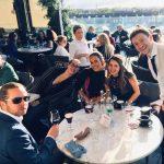 Idiro Analytics employee's enjoying a few drinks in a restaurant after a seminar