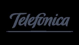 Telefonia logo on a checkered background on Idiro website. Client testimonial