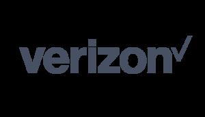 Verizon logo on a checkered background on Idiro website. Client testimonial