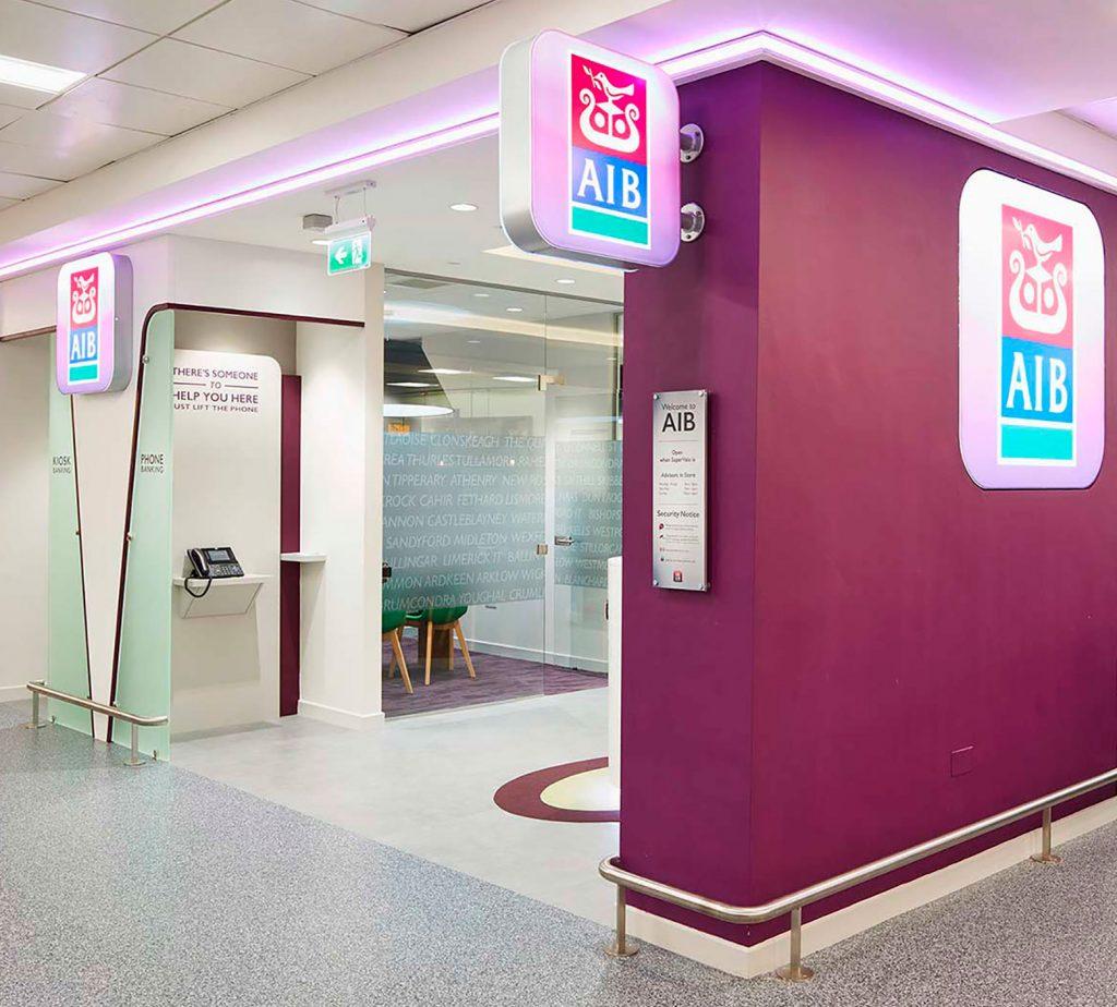 AIB retail bank hallway with AIB logo's