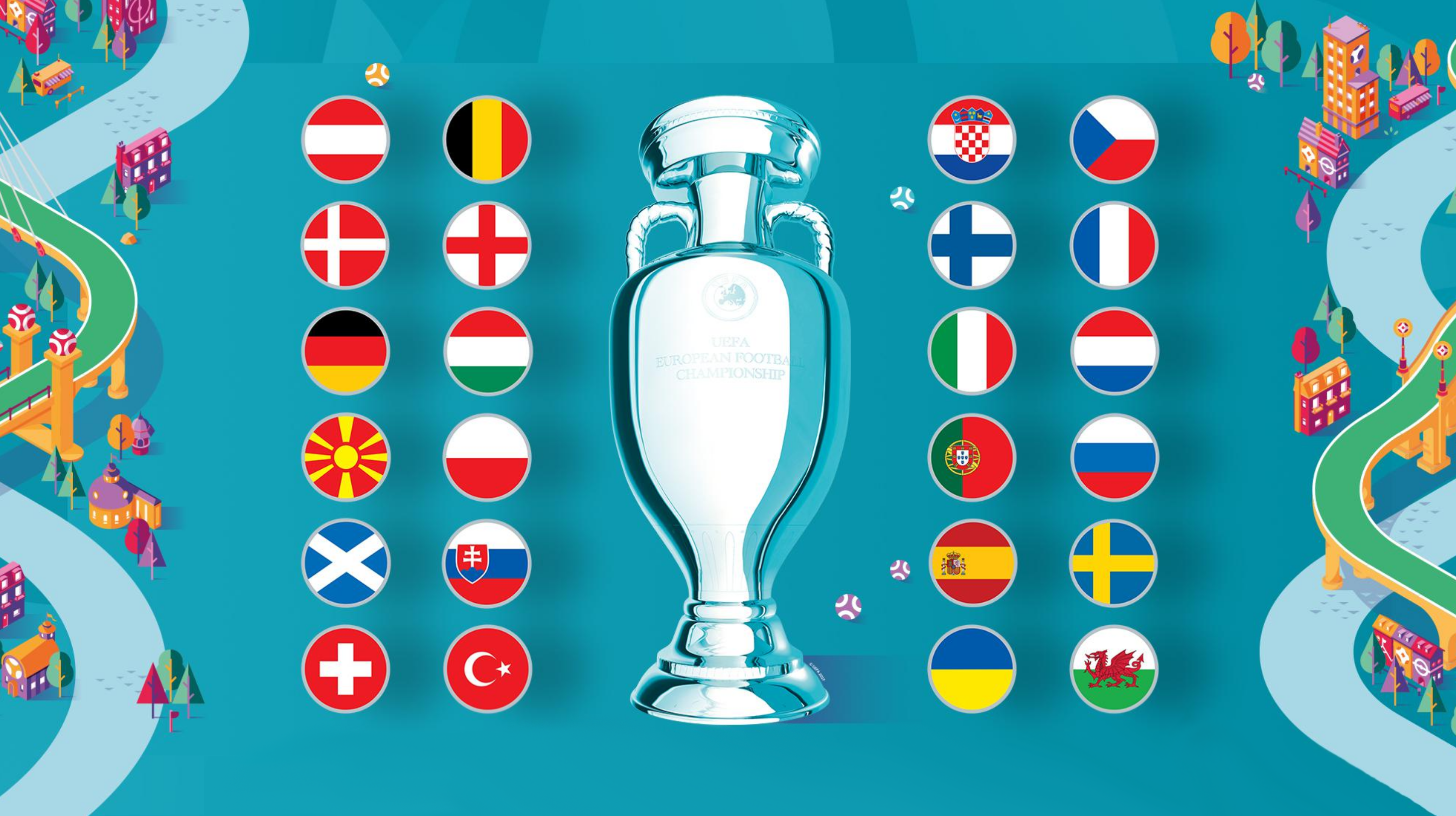 UEFA euro 2020 cup with the flags of participating countries in the competition